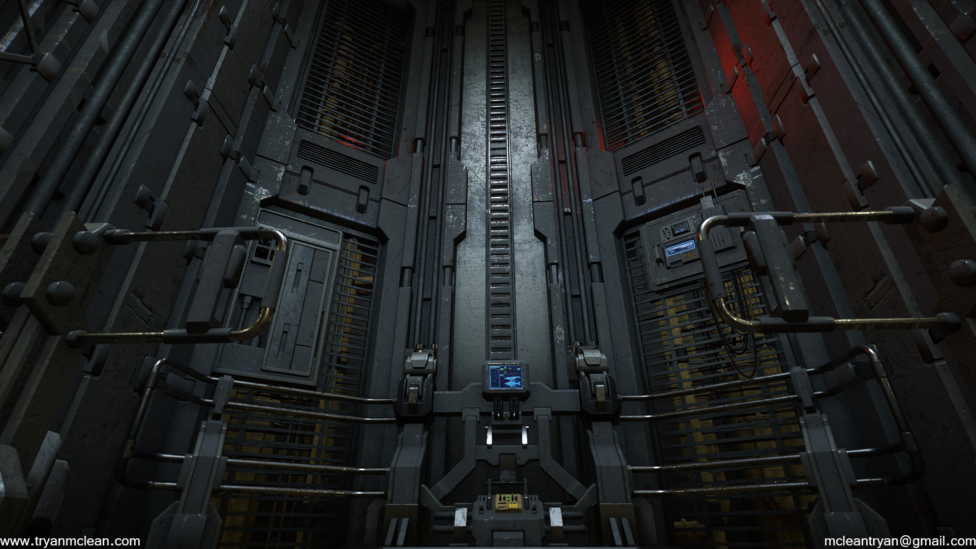 Star Citizen Hangar Control Area. Modelling done by myself. Texture blending done by myself. Textures, Materials created by others on team.