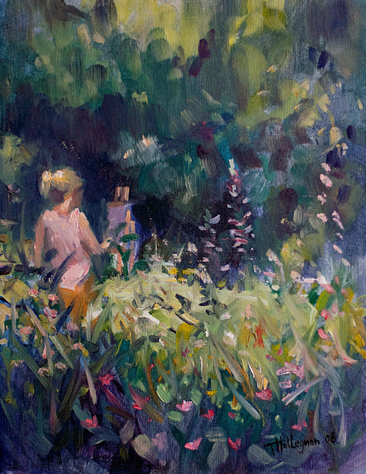 Tim holleyman painting in the garden