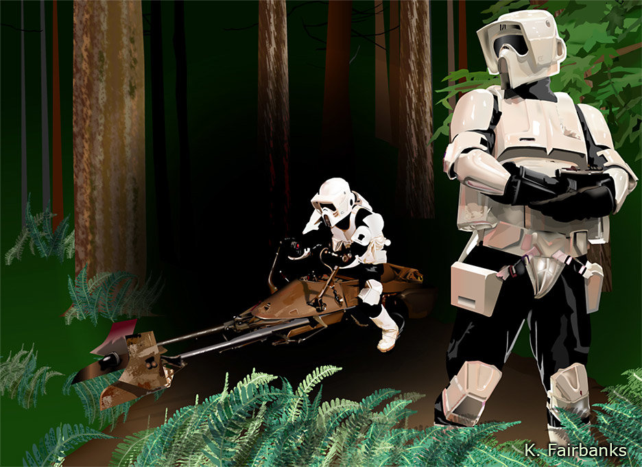 Biker Scouts on Endor (vector drawing) by K. Fairbanks