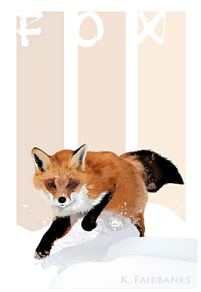 Digital drawing of a fox by K. Fairbanks - version with text design