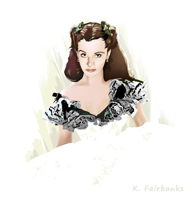 Vector drawing of actress Vivien Leigh as Scarlett O'Hara by K. Fairbanks