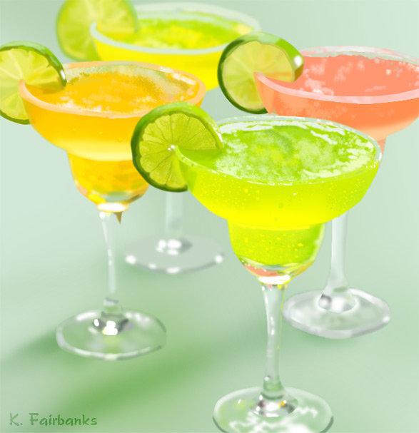 Digital painting of Margarita drinks
