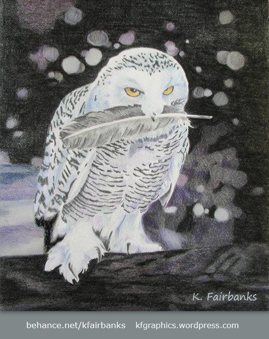 Owl color pencil drawing (original version)