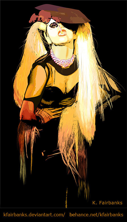 Lady Gaga vector drawing by K. Fairbanks