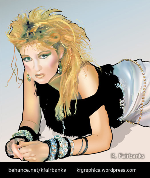 Vector drawing of Cyndi Lauper by K. Fairbanks