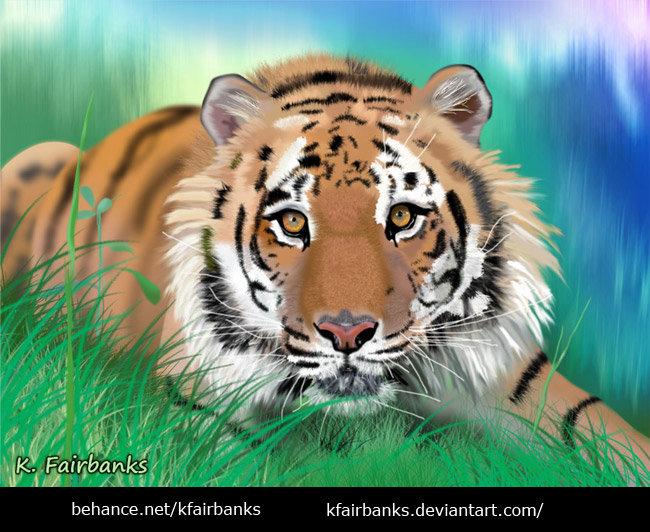 Tiger (digital painting) by K. Fairbanks