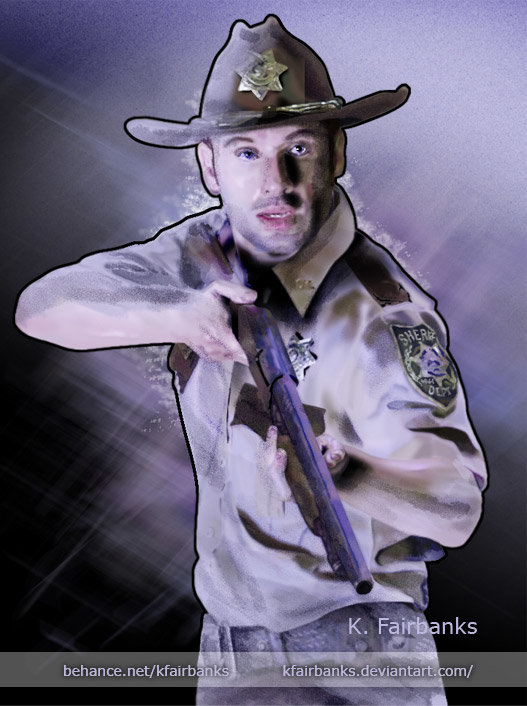 Digital painting of Andrew Lincoln as Rick Grimes by K. Fairbanks