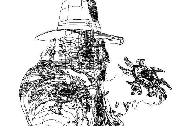 Screen shot of wireframe mode in Illustrator of Van Helsing drawing, by K. Fairbanks