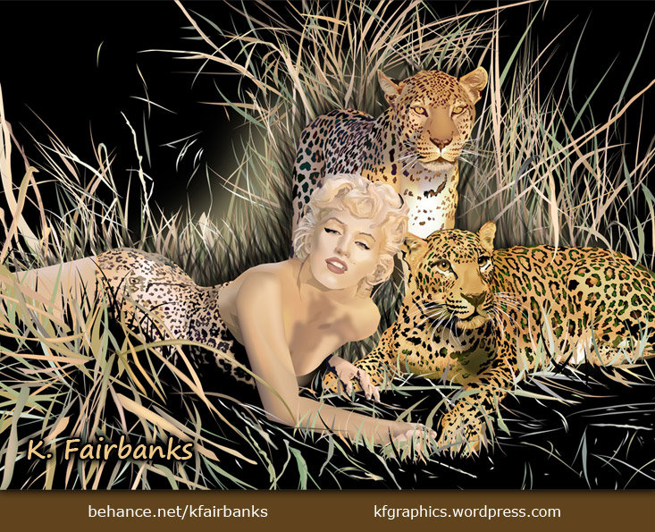 Vector drawing of Marilyn Monroe with Leopards, by K. Fairbanks