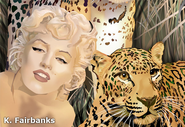 Closeup of vector drawing of Marilyn Monroe with Leopards by K. Fairbanks