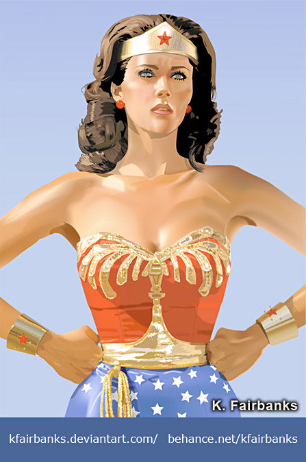 Vector drawing of Lynda Carter as Wonder Woman by K. Fairbanks