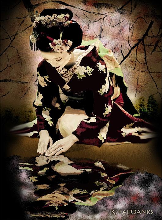 Geisha digital painting by K. Fairbanks. (Version 2)