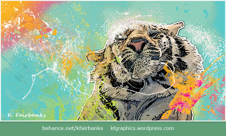 Vector drawing of a Tiger by K. Fairbanks - background colors and brush strokes created in Photoshop