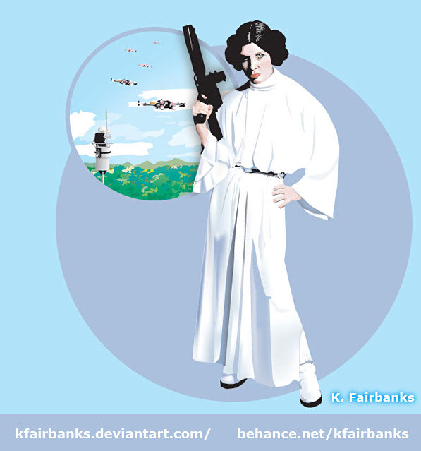 Vector drawing of Princess Leia by K. Fairbanks