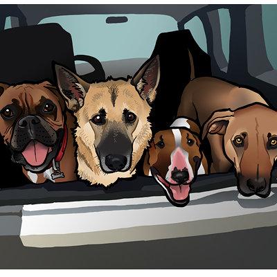 Steve rampton 4 dogs car