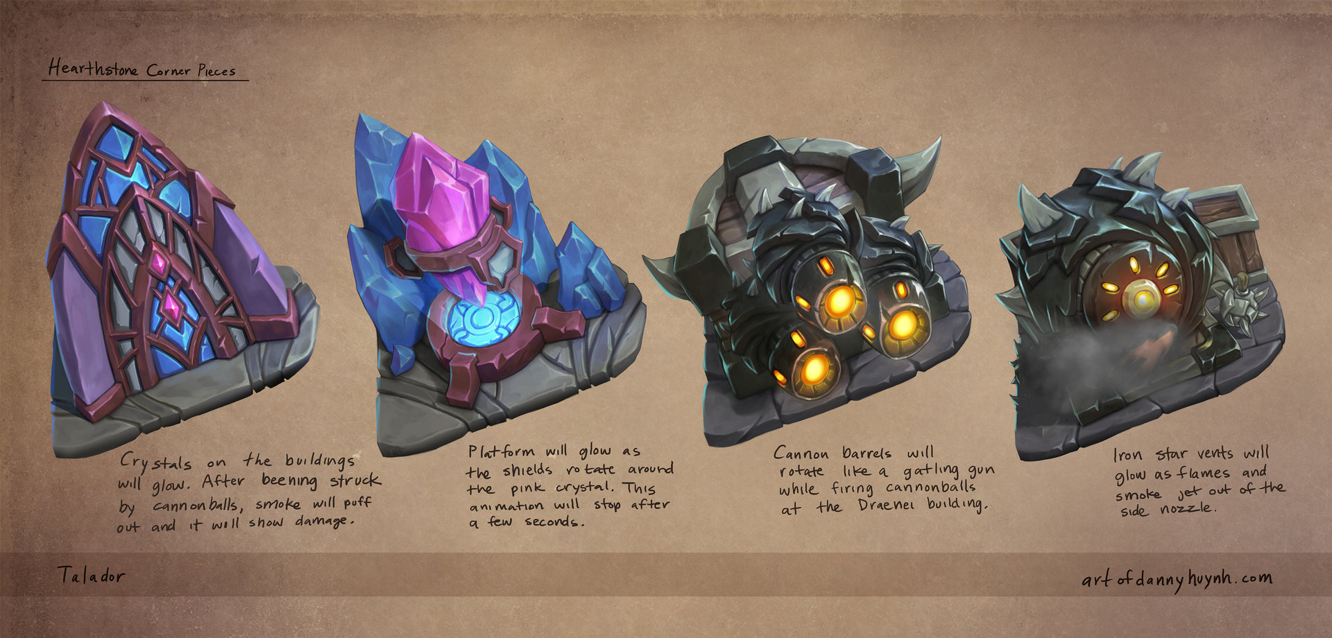 Concepts of cornerstones for Talador.