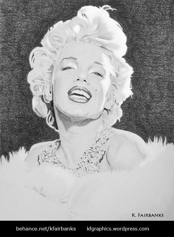 Pencil drawing of Marilyn Monroe by K. Fairbanks