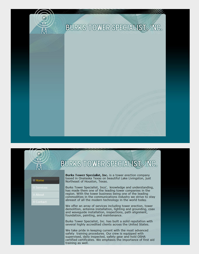 Screen captures of web site design for client. Media: Notepad, Dreamweaver, Photoshop