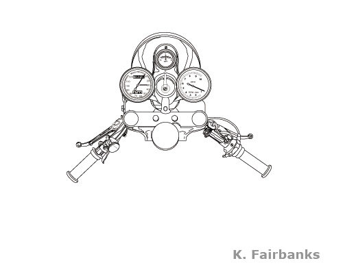 Vector drawing of motorcycle handlebars for previous employer. Media: Illustrator