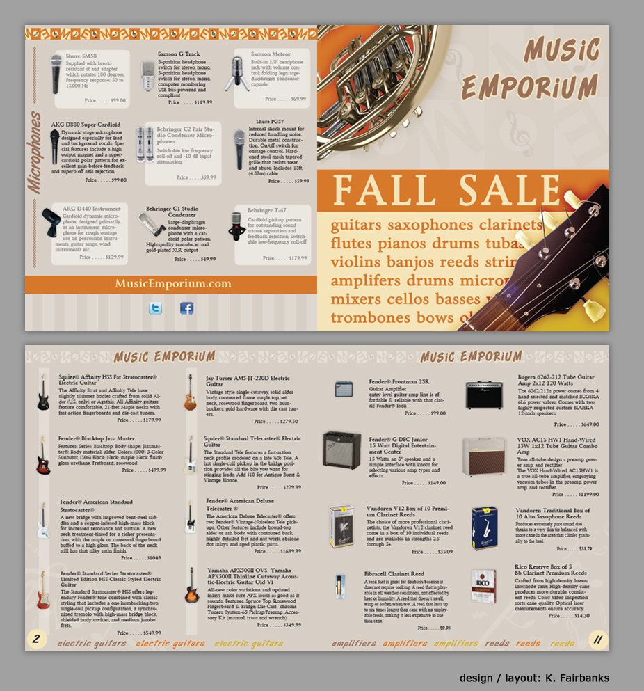 Print Project: Store Ad by K. Fairbanks / Media: InDesign (for text and page layout)  Photoshop (to edit photos of musical instruments)