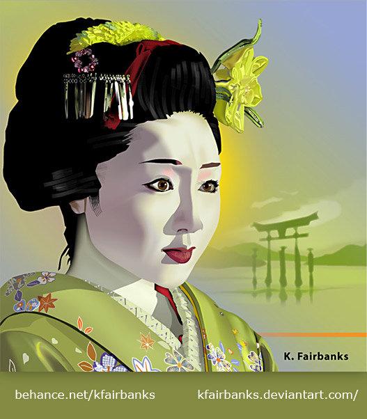 Geisha in Green (vector drawing) by K. Fairbanks