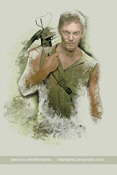 """Norman Reedus as Daryl Dixon. Digital painting by K. Fairbanks / This art appears in the book """"Thanks For All The Niceness,"""" by Norman Reedus. Copies can be purchased at  http://bigbaldbook.com/ (proceeds go to charity)"""