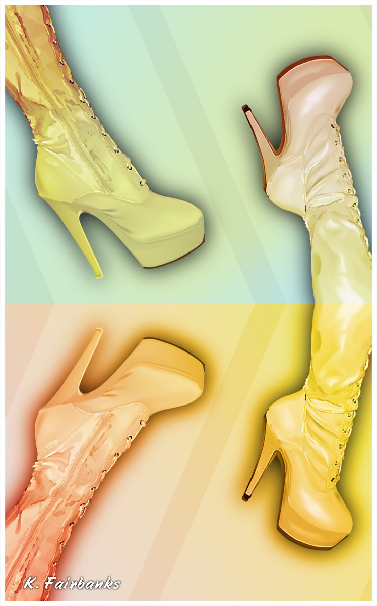 Boots (vector drawing) by K. Fairbanks (colorized in Photoshop)