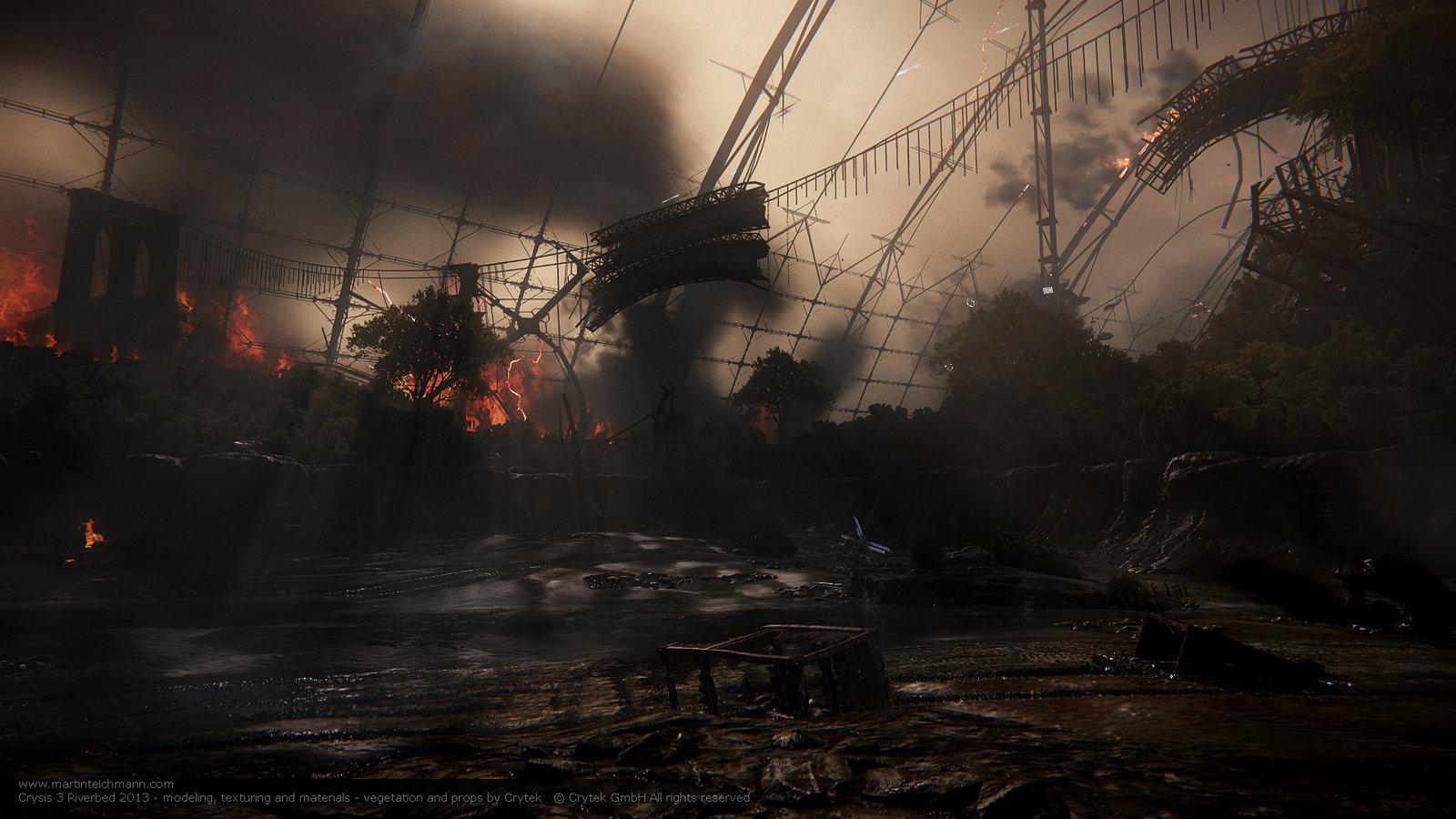 Crysis 3 Riverbed - Root of All Evil  ruined Brooklyn Bridge