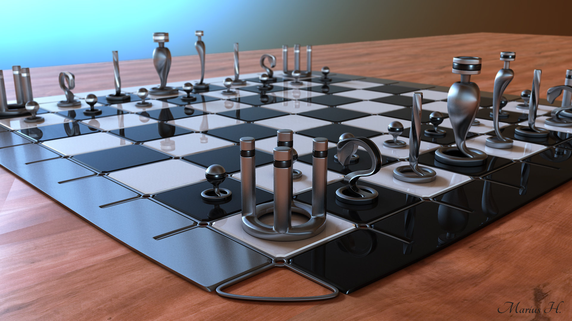 marius popa - modern chess set