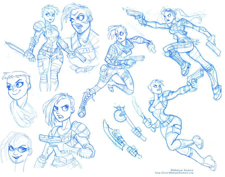 Michael dashow postapocalyptic women sketches 02