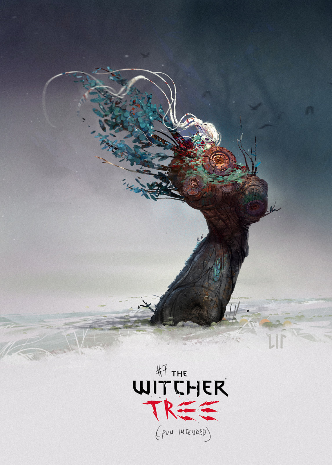 Gerald form the Witcher as a tree design