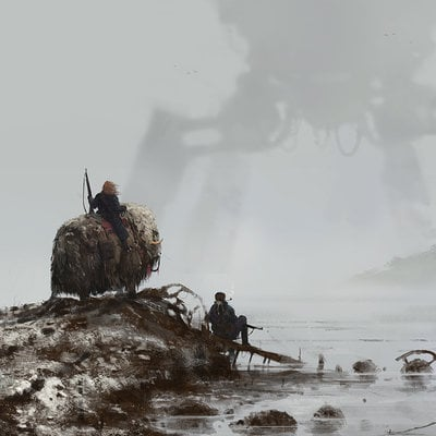 Jakub rozalski 1920 dog in the fog small
