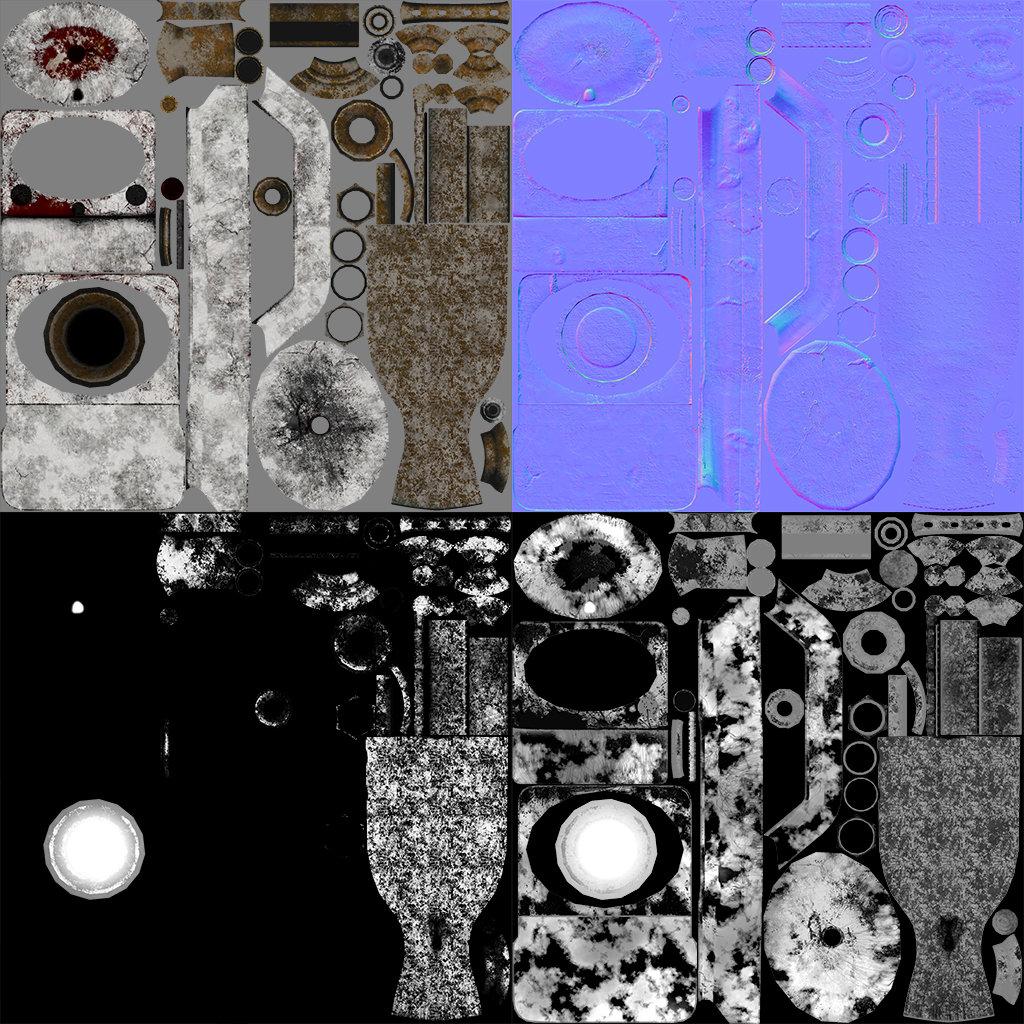 Texture Sheet PBR (Albedo,Normal Map,Metalness,Roughness)