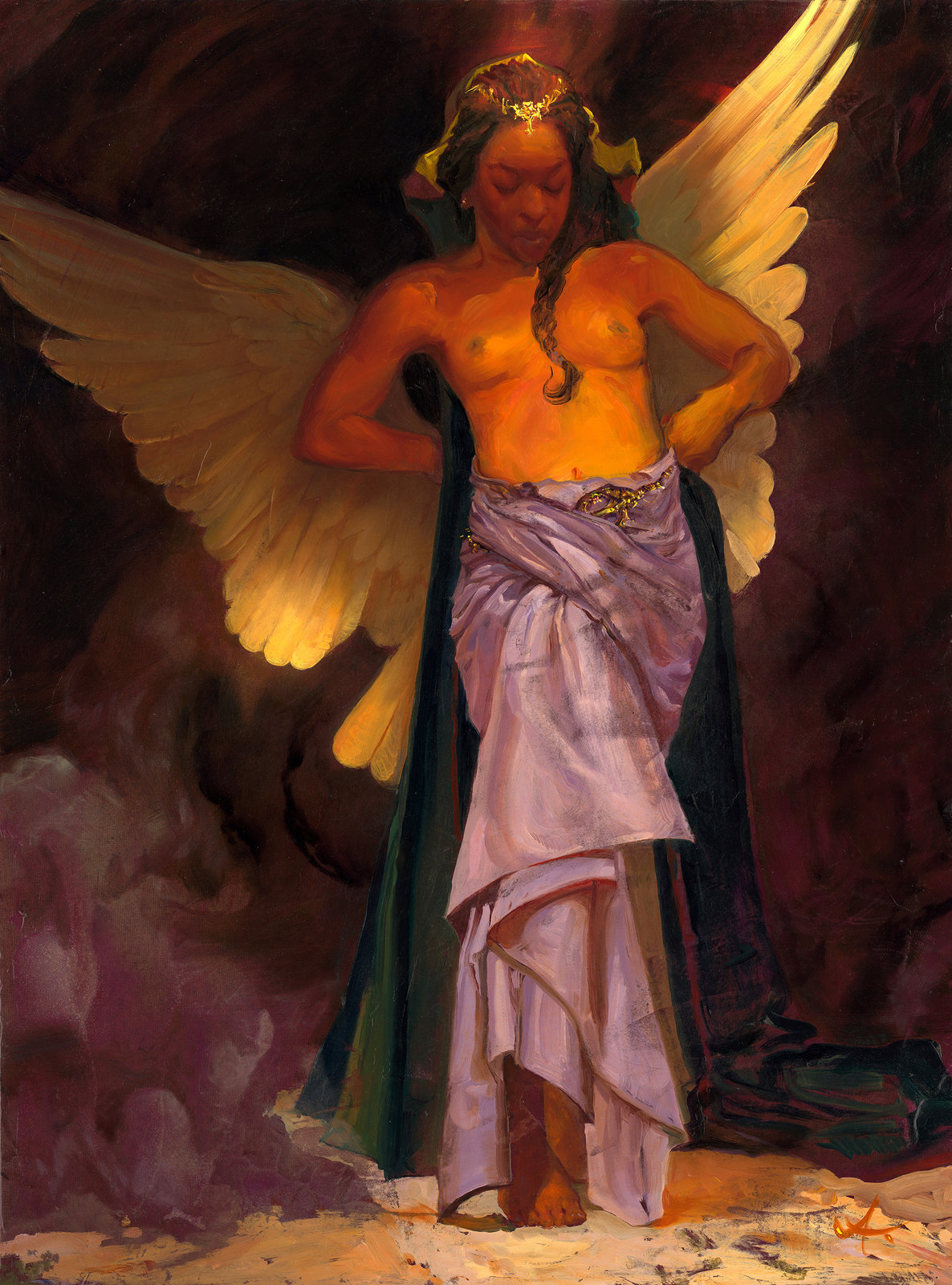 Black Angel - 18x24 Oil Painting