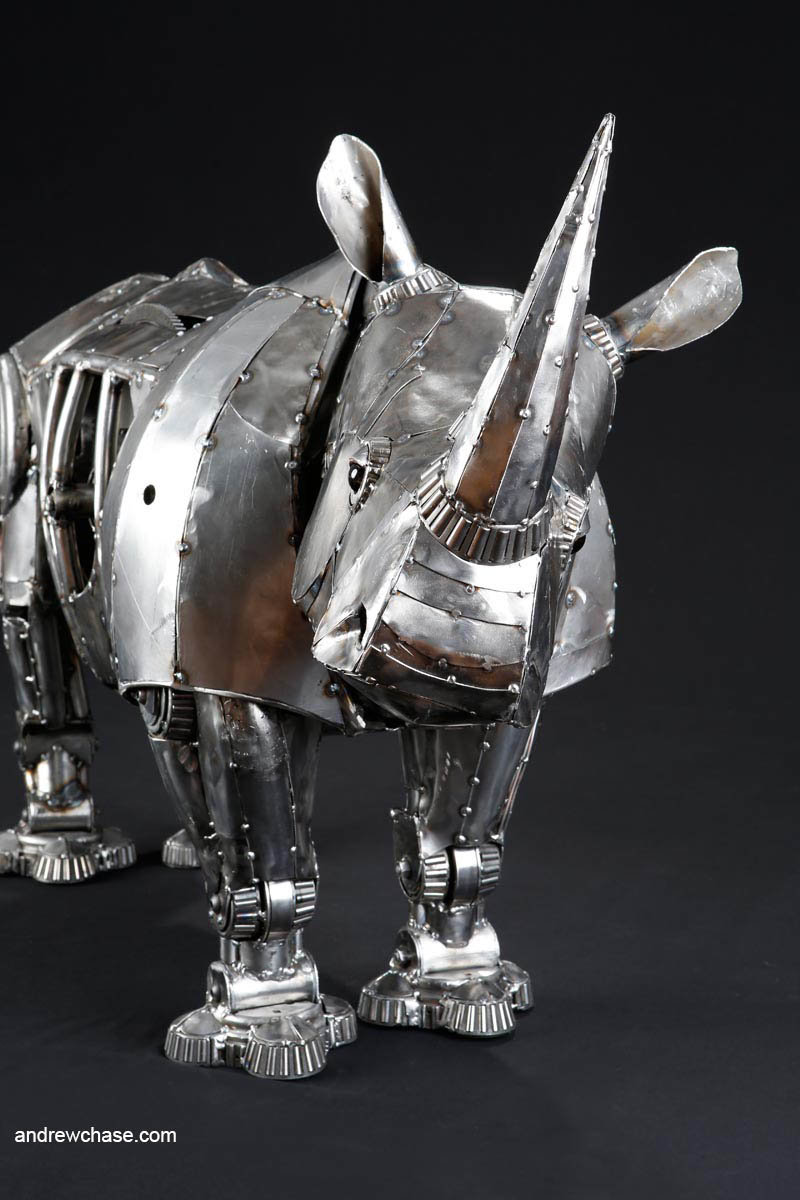 Andrew chase mechanical recycled metal articulated rhino quizzical