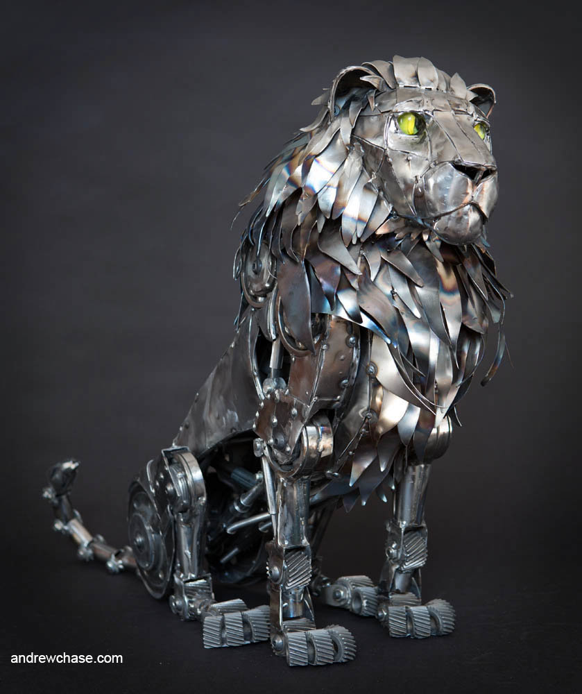Andrew chase mechanical metal lion sitting 2 2