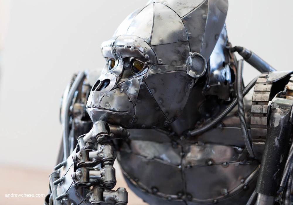 Andrew chase mechanical metal gorilla pensive 1