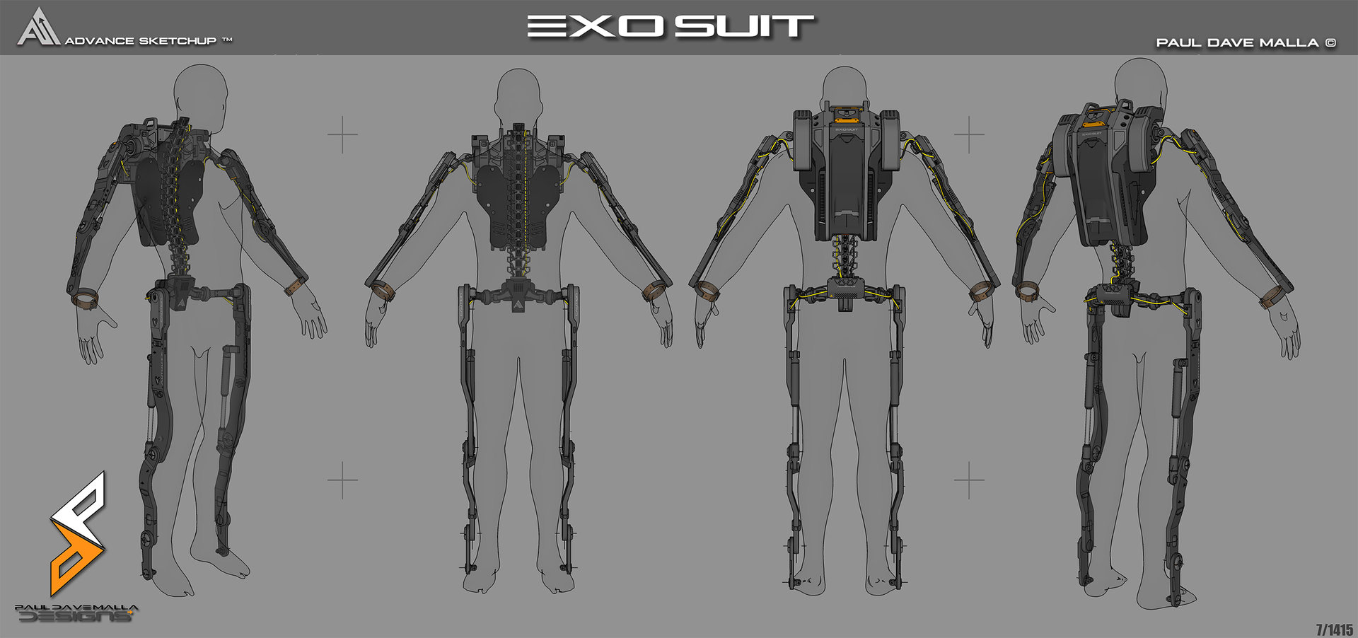 artstation exo suit project paul dave malla. Black Bedroom Furniture Sets. Home Design Ideas
