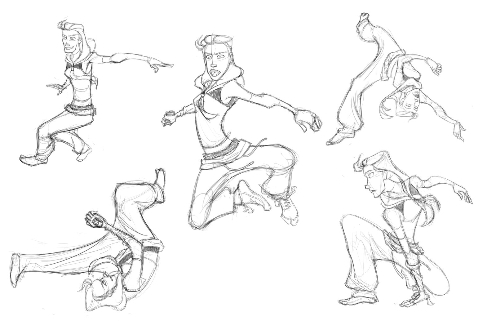 Vel's parkour gestures, to suggest her intensity, stealth, and skill.