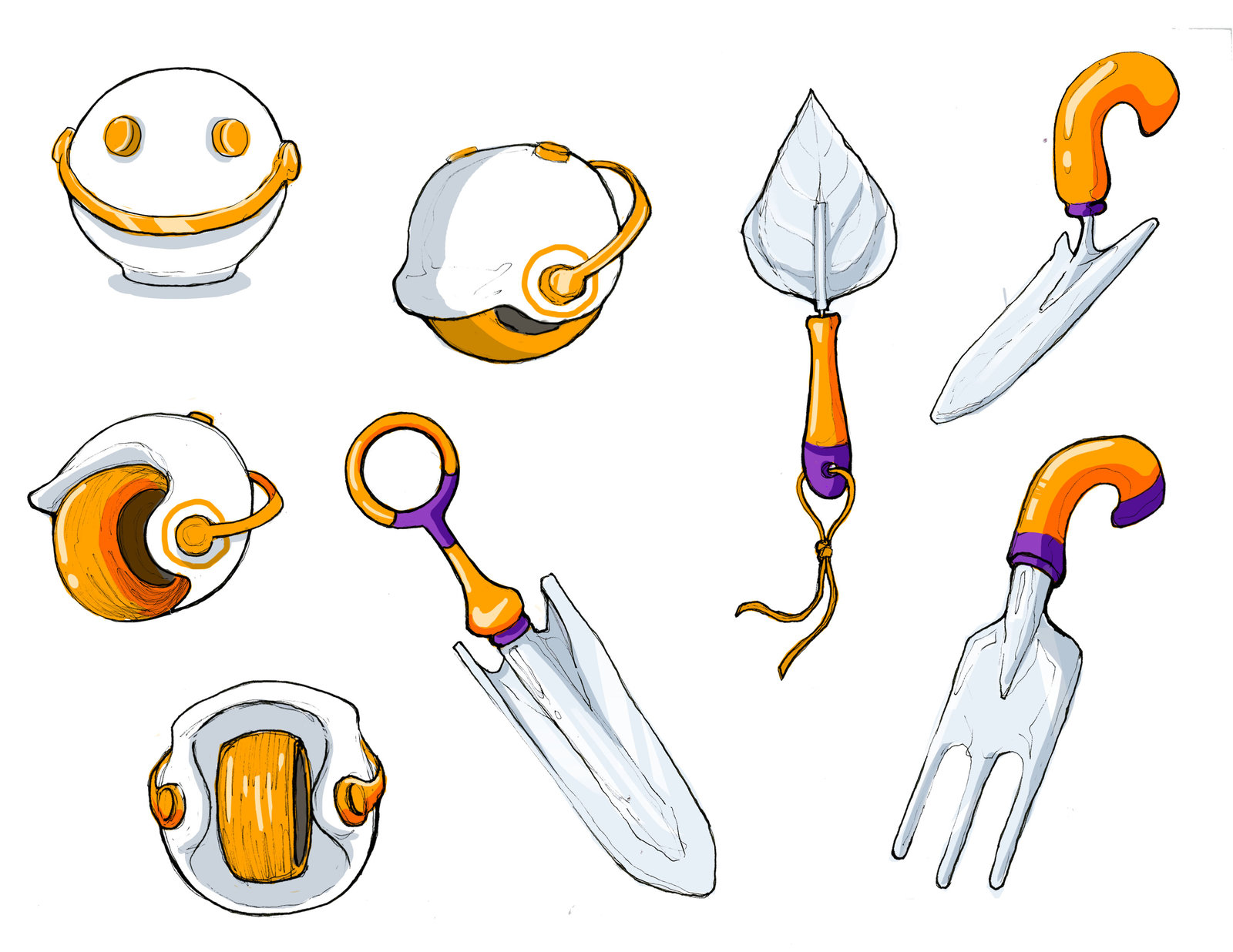 """Nahlah's gardening tools, plus the """"Wheely-Handy"""" that shaves off calluses for those who garden or parkour."""
