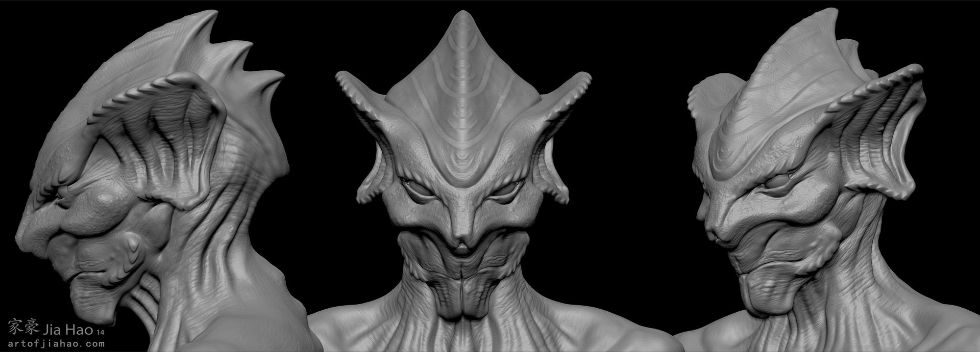 Jia hao 2014 01 alien bust 1 views sculpt