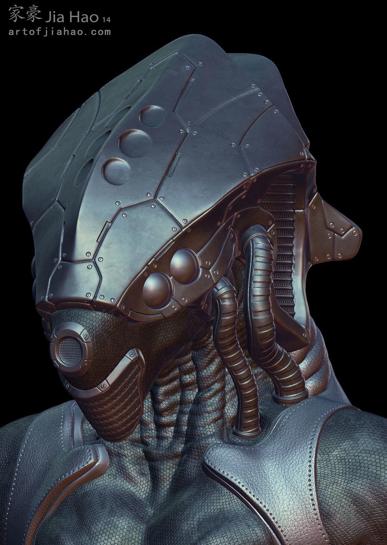 Jia hao 2014 02 alien helmet bust 01 still sculpt