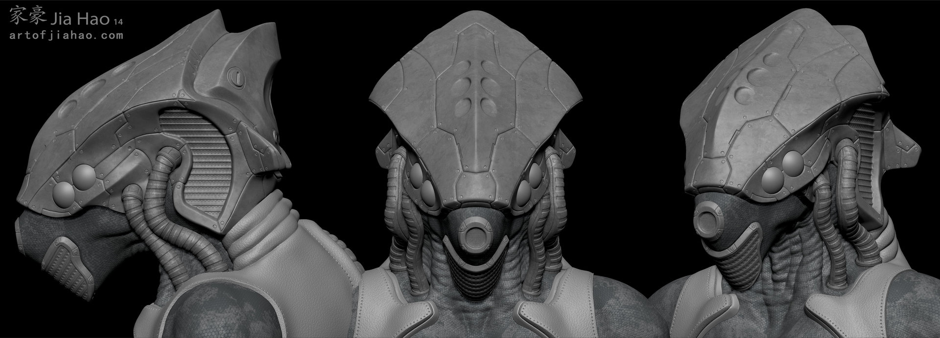Jia hao 2014 02 alien helmet bust 01 views sculpt