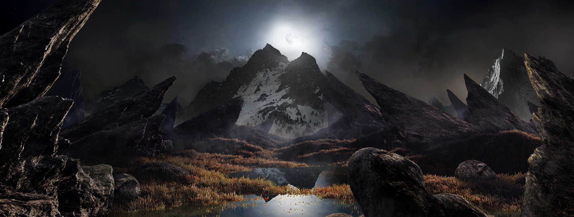 Scott richard moon light fantasy landscape matte updated by rich35211 d61n1n8