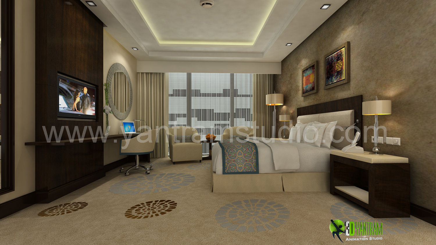 3D Classic Interior Design Rendering For Hotel Bedroom
