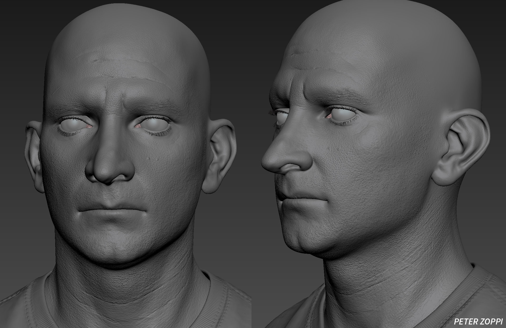 sculpted mesh with high frequency bump map in Mudbox