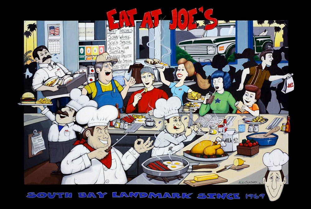 Eat At Joes restaurant. This Nine foot by six foot oil painting is mounted outside of the restaurant. The image is used for most of the restaurant graphics needs.