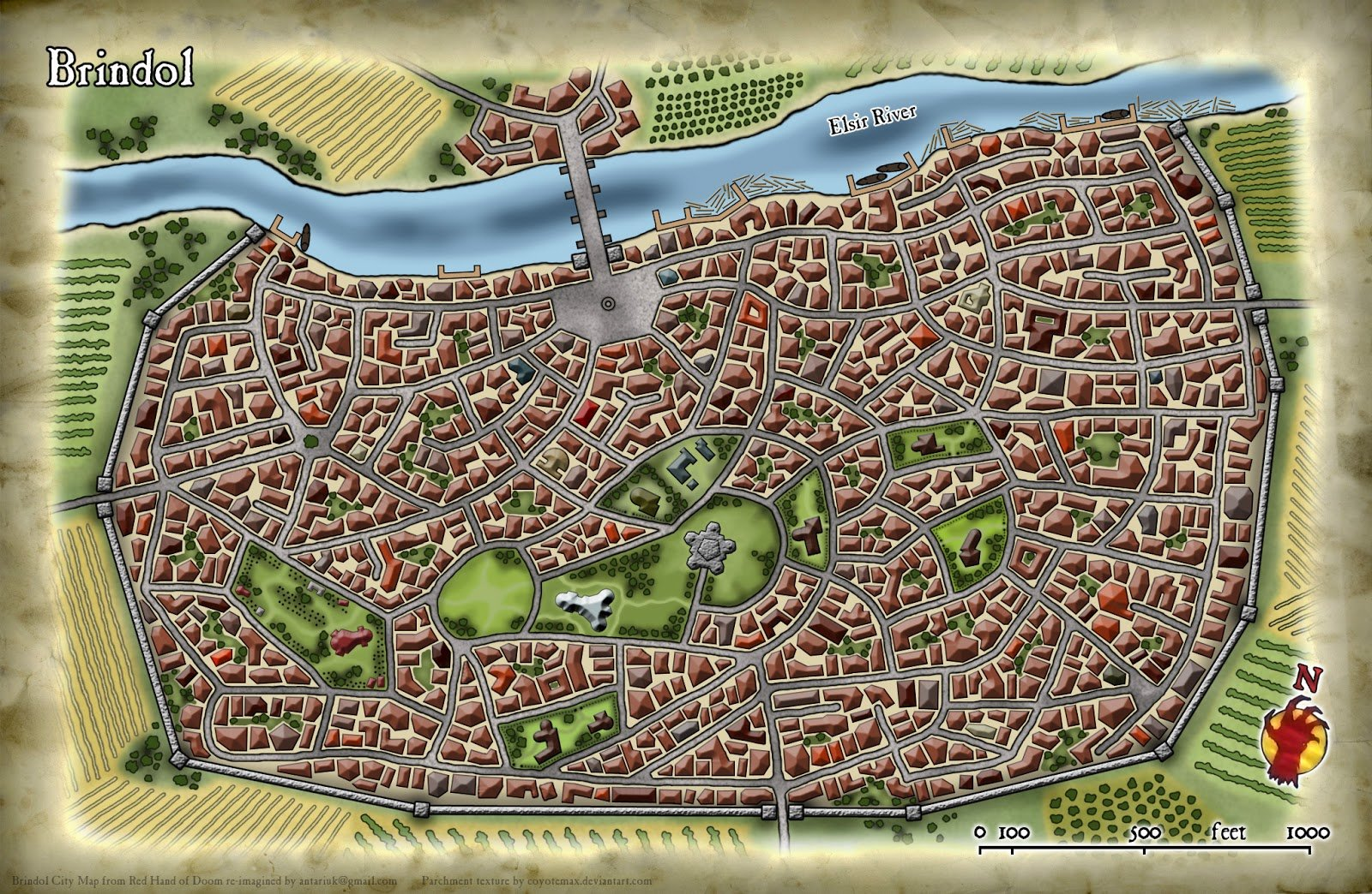 ArtStation - Dungeons & Dragons - Red Hand of Doom: Brindol City Map on
