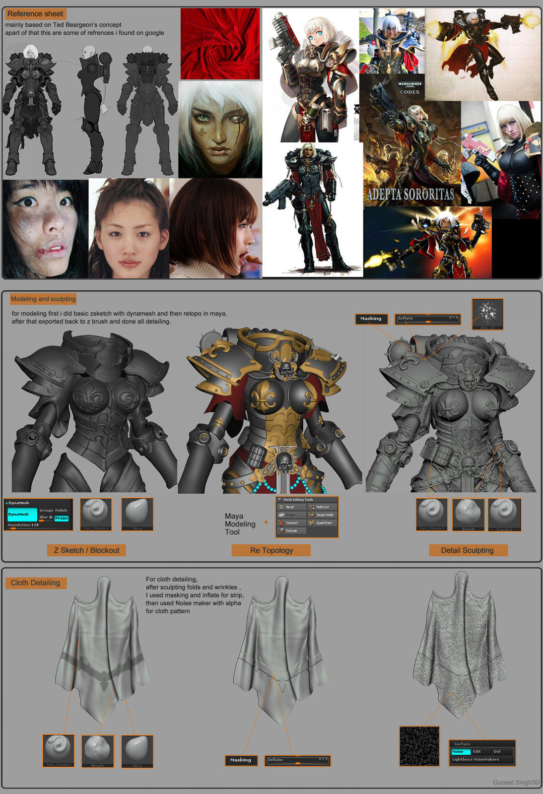 here is small breakdown of my work, I will be posting more break down images soon.