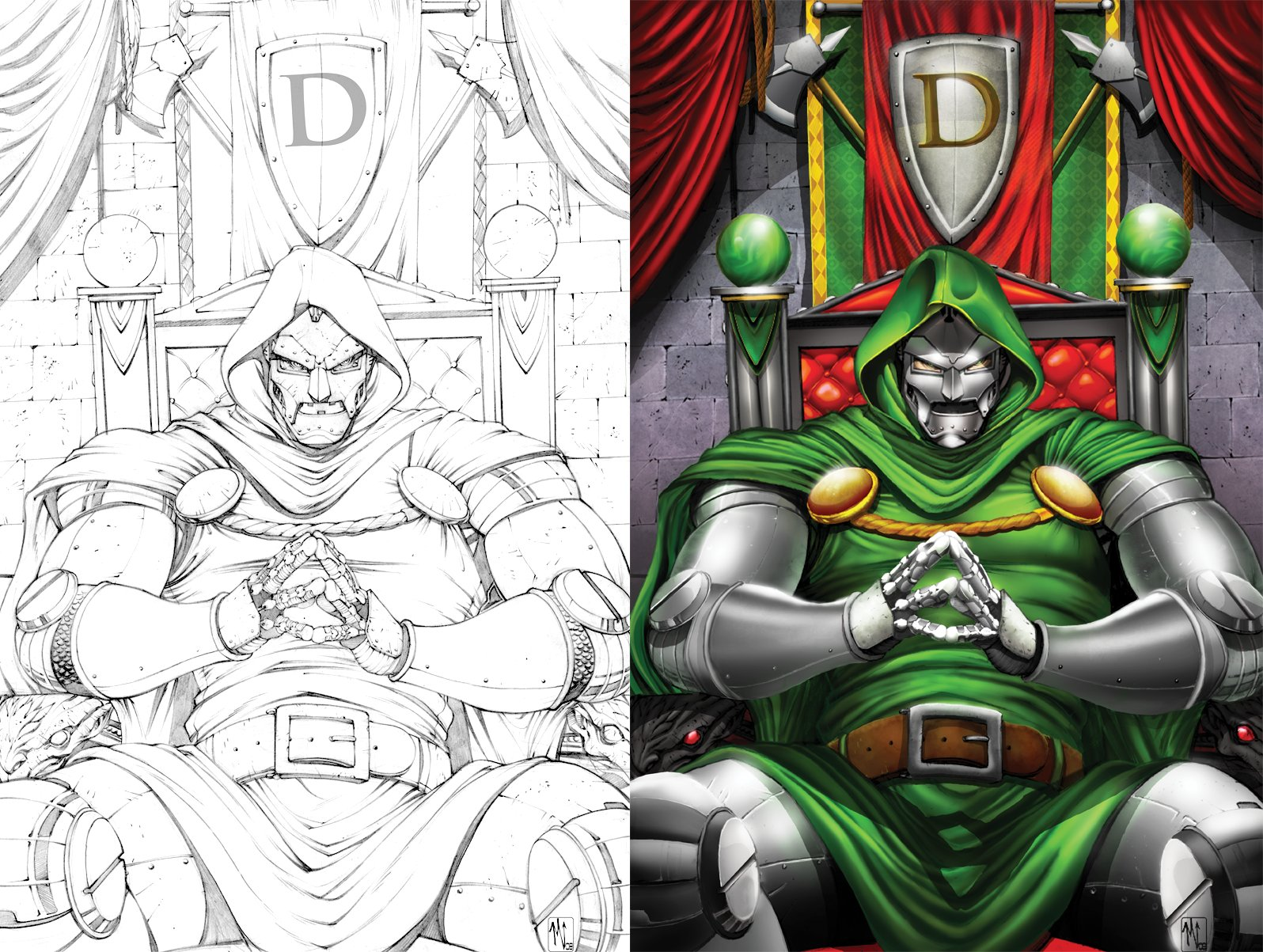 Dr. Doom painted from original lineart by  Jorge Molina Manzanero.